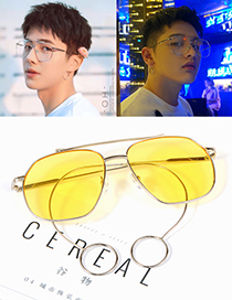 Fashion Yellow Pure Color Decorated Glasses
