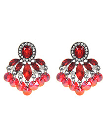 Fashion Red Oval Shape Decorated Earrings