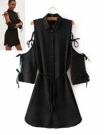 Fashion Black Pure Color Decorated Dress