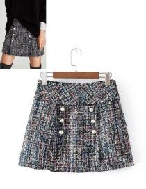Fashion Multi-color Pearl Decorated Skirt