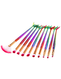 Fashion Multi-color Sector Shape Decorated Makeup Brush (10 Pcs)