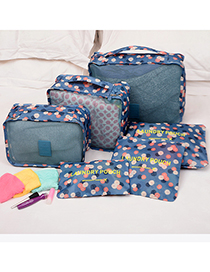 Fashion Blue Flower Pattern Decorated Storage Bag (6 Pcs)