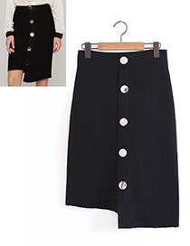 Fashion Black Buckle Decorated Skirt