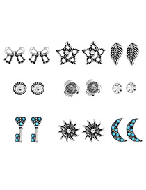 Fashion Silver Color Moon&star&bowknot Shape Decorated Earrings (18 Pcs)