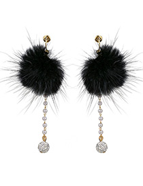Fashion Black Ball Decorated Pom Earrings