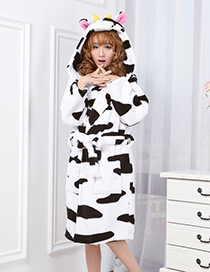 Fashion Black+white Cows Shape Decorated Nightgown
