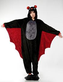 Fashion Black Bat Shape Decorated Nightgown