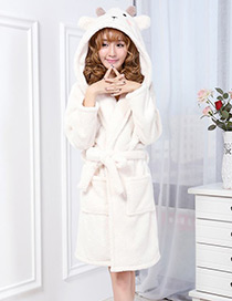 Fashion White Sheep Shape Decorated Nightgown