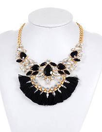 Fashion Black Tassel Decorated Necklace