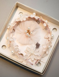 Lovely Beige Pearls&flower Decorated Hair Hoop(3pcs)