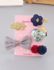 Lovely Gray+yellow Bowknot&crown Decorated Haipin(5pcs)