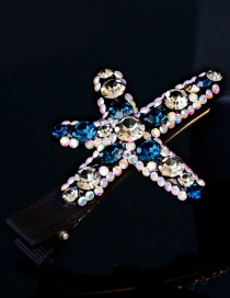 Fashion Blue+gray Diamond Decorated Color Matching Hairpin