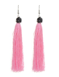 Fashion Pink Tassel Decorated Earrings