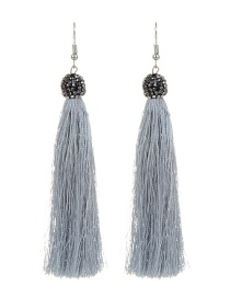 Fashion Light Gray Tassel Decorated Earrings