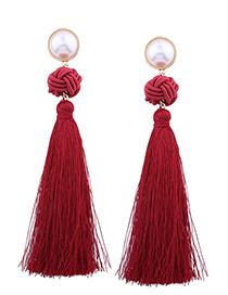 Fashion Red Pearl Decorated Earrings