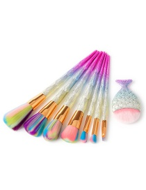 Fashion Multi-color Fish Shape Decorated Makeup Brush (8 Pcs)