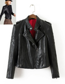 Fashion Black Pure Color Decorated Jacket