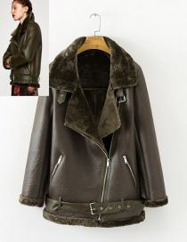 Fashion Oliver Green Pure Color Decorated Coat
