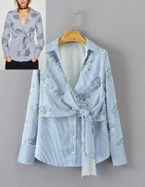 Fashion Light Blue Flower Pattern Decorated Shirt