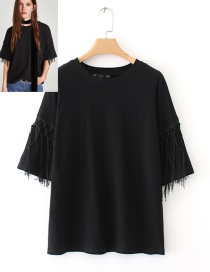 Fashion Black Tassel Decorated Shirt