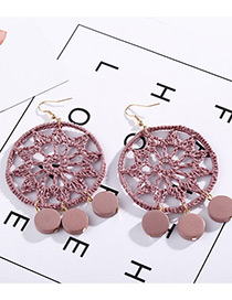Fashion Pink Circular Ring Shape Decorated Earrings