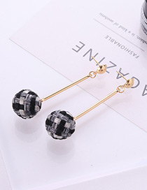 Fashion Black+gray Ball Shape Decorated Earrings