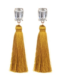 Fashion Yellow Square Shape Diamond Decorated Tassel Earrings