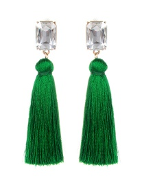 Fashion Green Square Shape Diamond Decorated Tassel Earrings