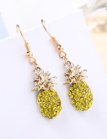 Fashion Yellow Pineapple Pendant Decorated Earrings