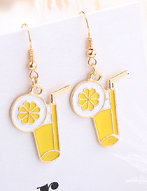Personality Yellow Juice Cup Shape Decorated Long Earrings