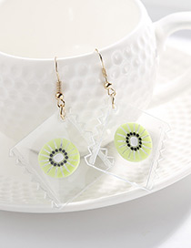 Personality Light Green Kiwi Shape Pendant Decorated Earrings