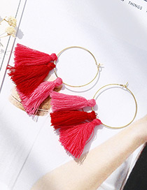 Fashion Plum Red Tassel Decorated Simple Earrings