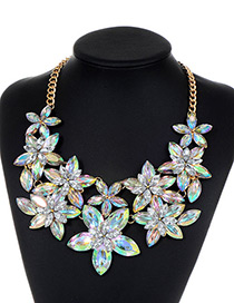Fashion Multi-color Flower Shape Decorated Simple Necklace