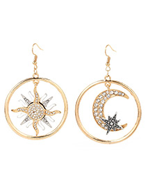 Exaggerated Gold Color Moon&stars Pendant Decorated Earrings