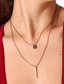 Elegant Gold Color Vertical Shape Decorated Simple Necklace