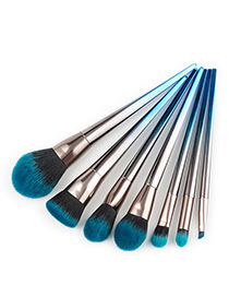 Fashion Blue+black Color Matching Decorated Makeup Brush(7pcs)