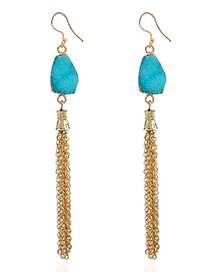 Fashion Blue Chains Decorated Long Tassel Earrings