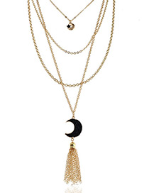 Fashion Black Moon&tassel Decorated Multi-layer Necklace