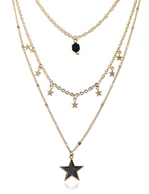 Fashion Black Five-pointed Star Decorated Multi-layer Necklace