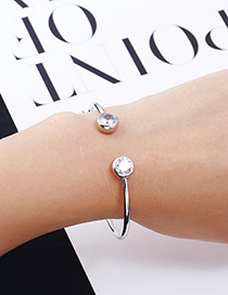 Fashion Silver Color Diamond Decorated Opening Bracelet