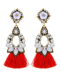 Fashion Red Flower Decorated Tassel Earrings
