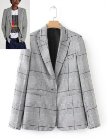 Trendy Gray Grid Pattern Decorated Simple Coat
