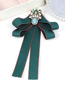 Trendy Green Diamond Decorated Bowknot Design Brooch