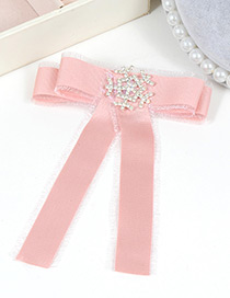 Trendy Pink Snowflake Decorated Bowknot Design Brooch
