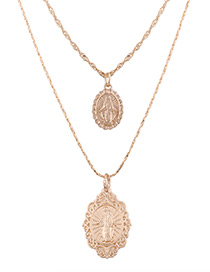 Fashion Gold Color Relief Pendant Decorated Long Necklace