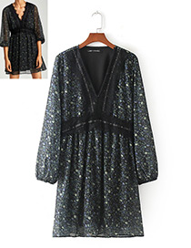 Fashion Black Flower Pattern Decorated Long Sleeves Dress
