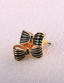 Fashion Gold Color+black Bowknot Shape Decorated Earrings