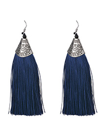 Bohemia Dark Blue Tassel Decorated Earrings