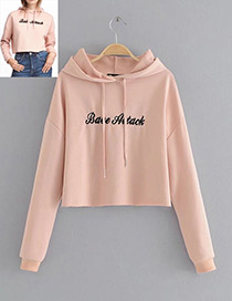 Fashion Pink Letter Decorated Hoodie