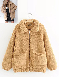 Fashion Light Brown Pure Color Decorated Jacket